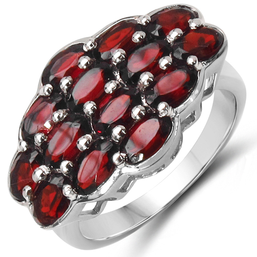 Garnet-4.90 Carat Genuine Garnet .925 Sterling Silver Ring