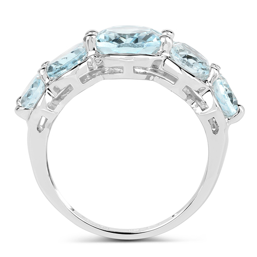 5.42 Carat Genuine Blue Topaz .925 Sterling Silver Ring