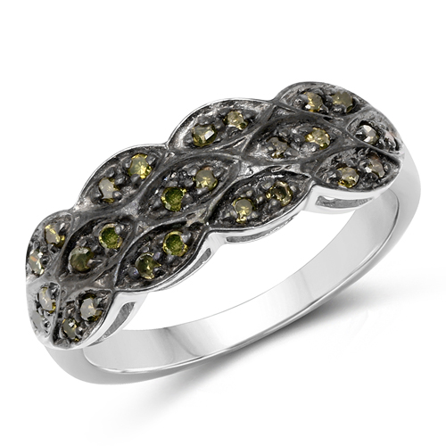 Diamond-0.31 Carat Genuine Green Diamond .925 Sterling Silver Ring