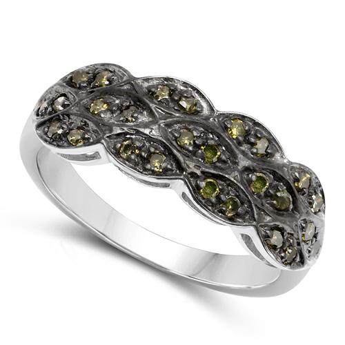 0.31 Carat Genuine Green Diamond .925 Sterling Silver Ring