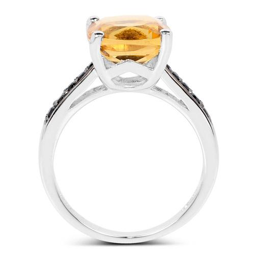 3.90 Carat Genuine Golden Citrine & Black Spinel .925 Sterling Silver Ring