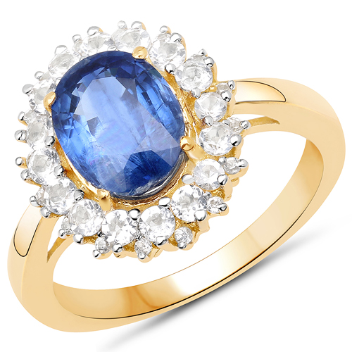 Rings-14K Yellow Gold Plated 2.94 Carat Genuine Kyanite and White Topaz .925 Sterling Silver Ring
