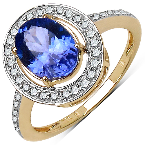 Tanzanite-2.13 Carat Tanzanite & White Diamond 10K Yellow Gold Ring