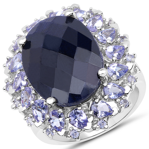 Sapphire-17.81 Carat Dyed Sapphire and Tanzanite .925 Sterling Silver Ring