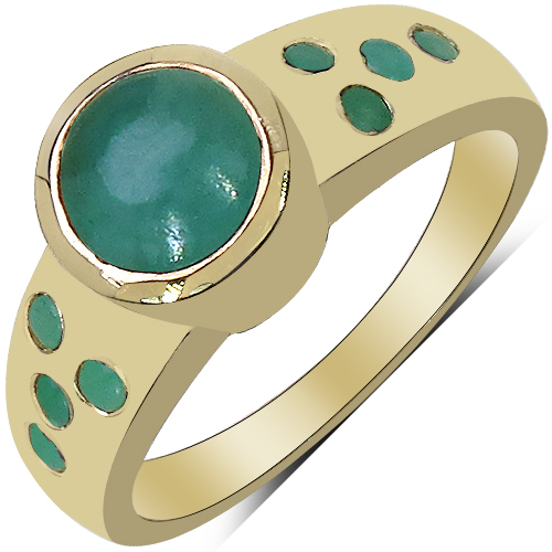 Emerald-14K Yellow Gold Plated 1.55 Carat Genuine Emerald & White Diamond .925 Sterling Silver Ring