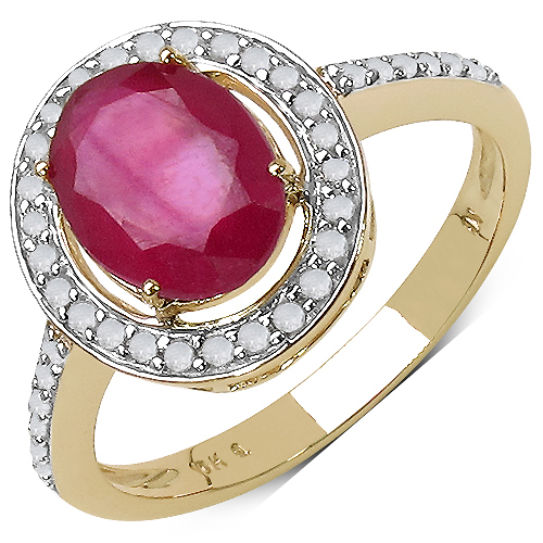 Ruby-2.76 Carat Genuine Ruby & White Diamond 10K Yellow Gold Ring