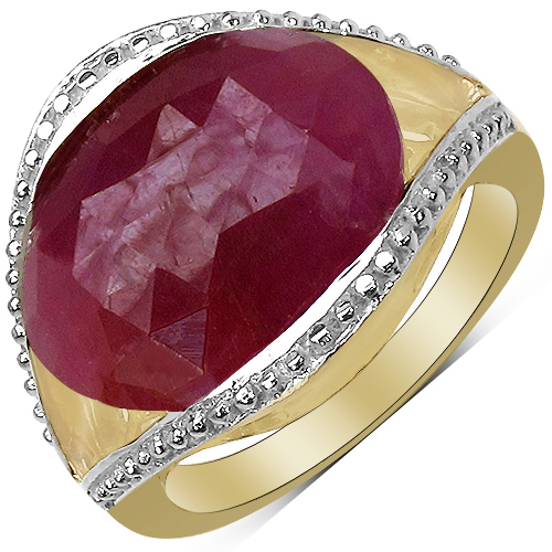 Sapphire-14K Yellow Gold Plated 9.29 Carat Genuine Pink Sapphire & White Diamond .925 Sterling Silver Ring
