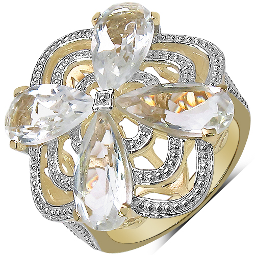 Rings-14K Yellow Gold Plated 6.69 Carat Genuine Crystal Quartz & White Diamond .925 Sterling Silver Ring