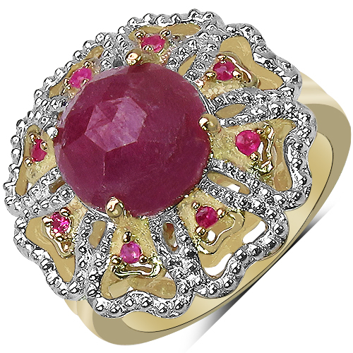 Sapphire-14K Yellow Gold Plated 5.56 Carat Genuine Pink Sapphire, Ruby & White Diamond .925 Sterling Silver Ring
