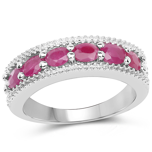 Ruby-1.33 Carat Genuine Ruby and White Diamond .925 Sterling Silver Ring