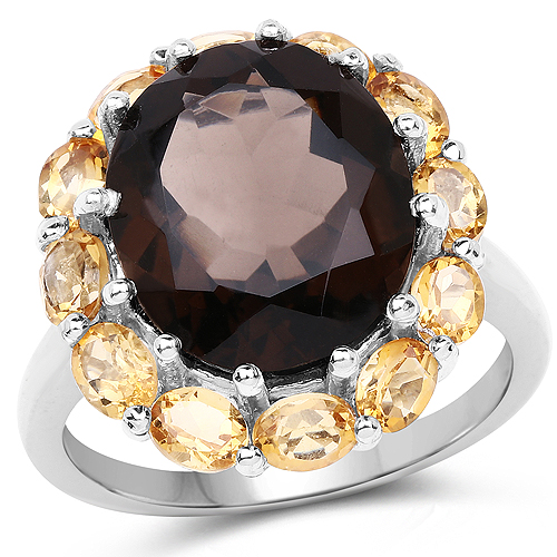 Rings-8.72 Carat Genuine Smoky Quartz and Citrine .925 Sterling Silver Ring