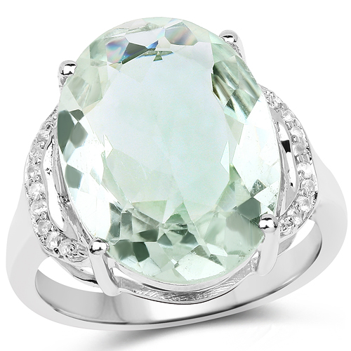 Amethyst-7.98 Carat Genuine Green Amethyst & White Topaz .925 Sterling Silver Ring