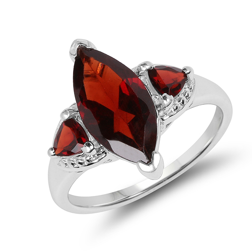 Garnet-3.60 Carat Genuine Garnet .925 Sterling Silver Ring