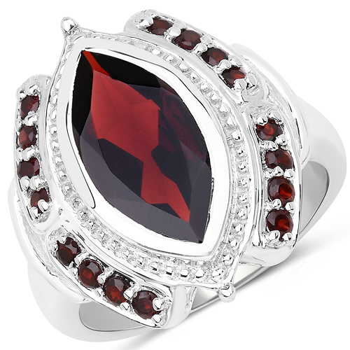 Garnet-4.06 Carat Genuine Garnet .925 Sterling Silver Ring