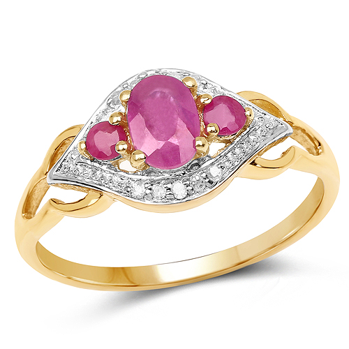 Ruby-14K Yellow Gold Plated 0.76 Carat Genuine Ruby and White Diamond .925 Sterling Silver Ring