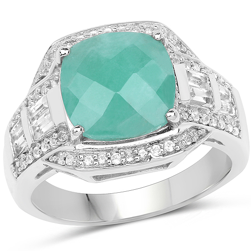 Emerald-4.09 Carat Genuine Emerald and White Topaz .925 Sterling Silver Ring