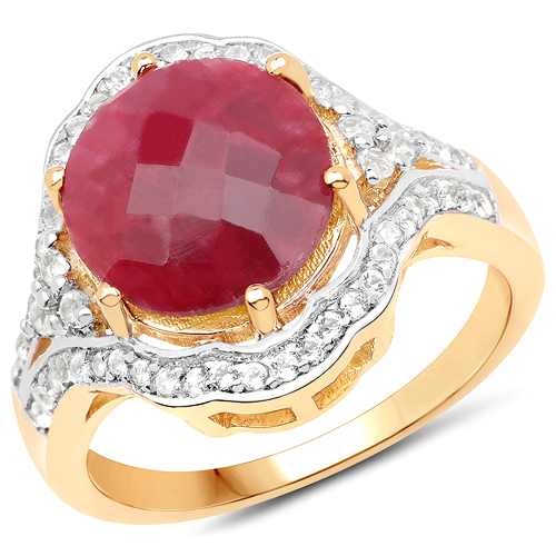 Ruby-14K Yellow Gold Plated 6.91 Carat Dyed Ruby and White Topaz .925 Sterling Silver Ring