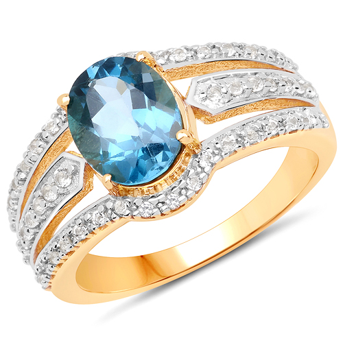 Rings-14K Yellow Gold Plated 2.30 Carat Genuine London Blue Topaz and White Topaz .925 Sterling Silver Ring