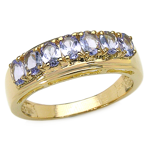 Tanzanite-14K Yellow Gold Plated 1.19 Carat Genuine Tanzanite .925 Sterling Silver Ring