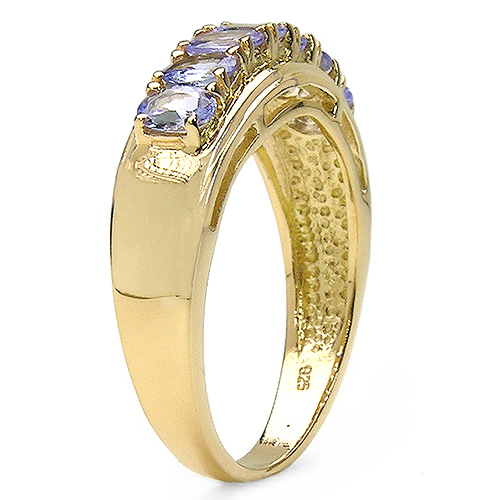 14K Yellow Gold Plated 1.19 Carat Genuine Tanzanite .925 Sterling Silver Ring