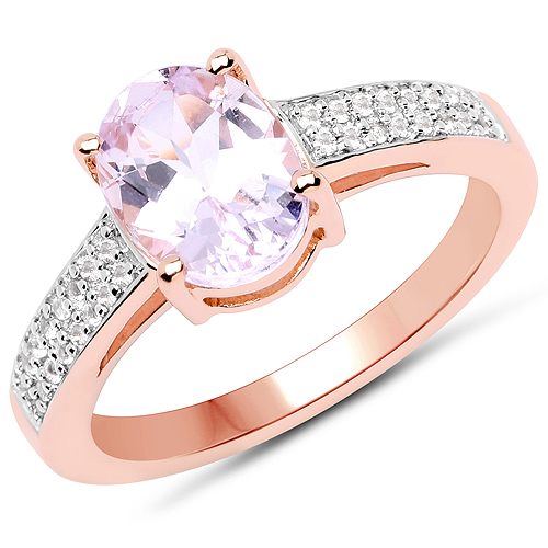 Rings-14K Rose Gold Plated 2.91 Carat Genuine Kunzite and White Zircon .925 Sterling Silver Ring