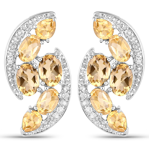 Citrine-6.72 Carat Genuine Citrine and White Topaz .925 Sterling Silver Earrings