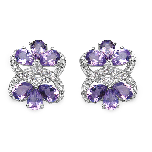 Amethyst-8.52 Carat Genuine Amethyst & White Topaz .925 Sterling Silver Earrings