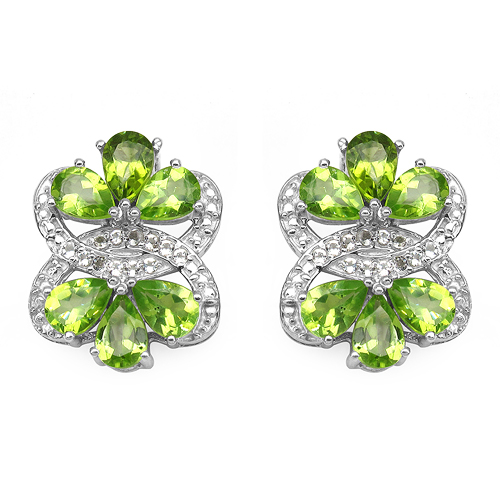 Peridot-8.77 Carat Genuine Peridot & White Topaz .925 Sterling Silver Earrings