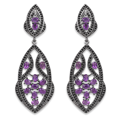 Amethyst-5.74 Carat Genuine Amethyst and Black Spinel .925 Sterling Silver Earrings