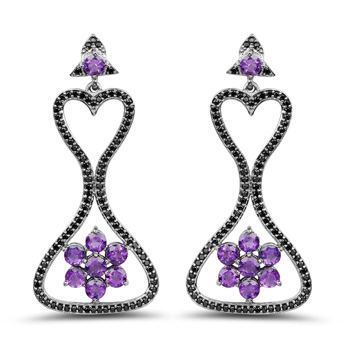 Amethyst-6.31 Carat Genuine Amethyst & Black Spinel .925 Sterling Silver Earrings
