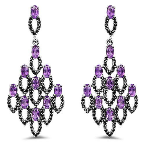 Amethyst-6.00 Carat Genuine Amethyst and Black Spinel .925 Sterling Silver Earrings