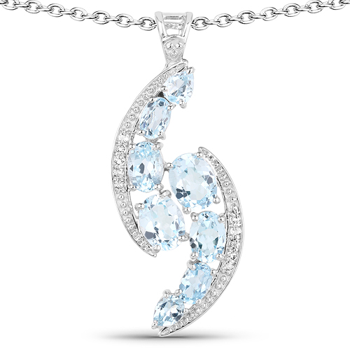 Pendants-7.27 Carat Genuine Blue Topaz and White Topaz .925 Sterling Silver Pendant