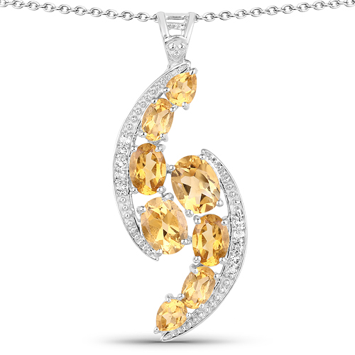 Citrine-5.43 Carat Genuine Citrine and White Topaz .925 Sterling Silver Pendant