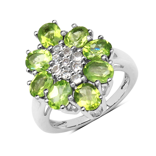 Peridot-3.31 Carat Genuine Peridot & White Topaz .925 Sterling Silver Floral Shape Ring
