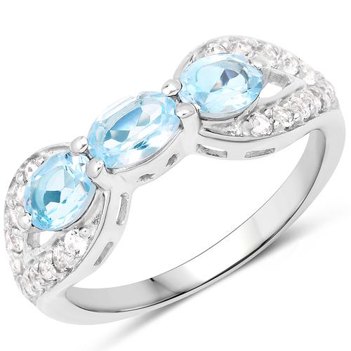 1.71 Carat Genuine Blue Topaz and White Topaz .925 Sterling Silver Ring