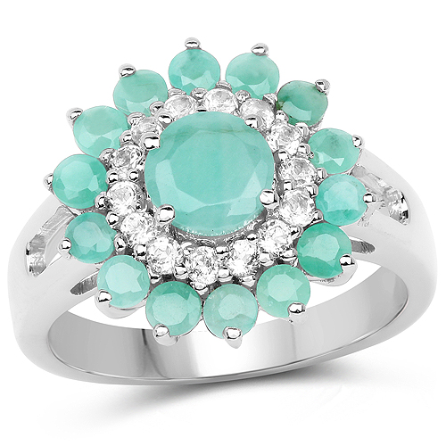 Emerald-2.01 Carat Genuine Emerald and White Topaz .925 Sterling Silver Ring