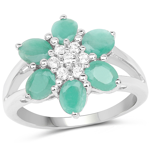 Emerald-1.93 Carat Genuine Emerald and White Topaz .925 Sterling Silver Ring