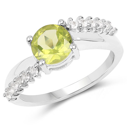 Peridot-1.54 Carat Genuine Peridot and White Topaz .925 Sterling Silver Ring