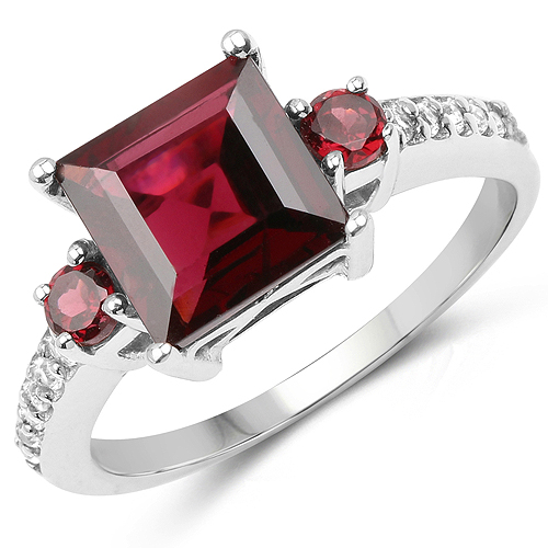 Rhodolite-3.37 Carat Genuine Rhodolite and White Topaz .925 Sterling Silver Ring