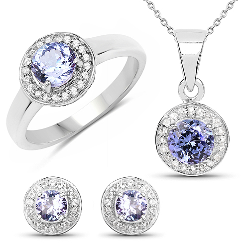 18K Rose Gold Plated 2.80 Carat Genuine Tanzanite and White Topaz .925 Sterling Silver Ring, Pendant & Earrings Set