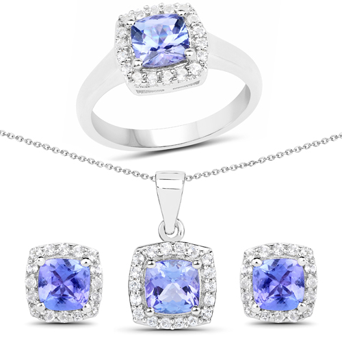 """4.02 Carat Genuine Tanzanite and White Topaz .925 Sterling Silver Ring, Pendant and Earrings Set"""