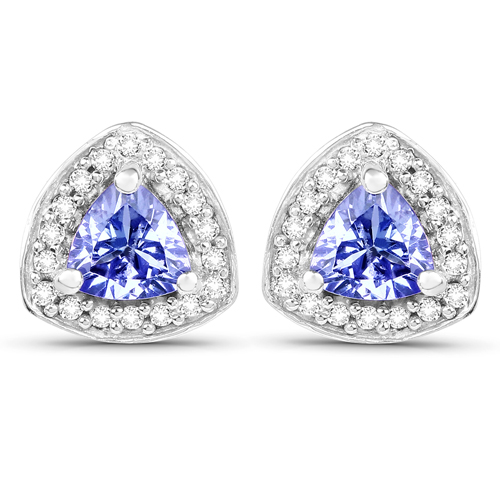 Earrings-1.06 Carat Genuine Tanzanite and White Topaz .925 Sterling Silver Earrings
