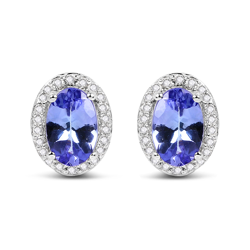 0.97 Carat Genuine Tanzanite and White Diamond 14K White Gold Earrings