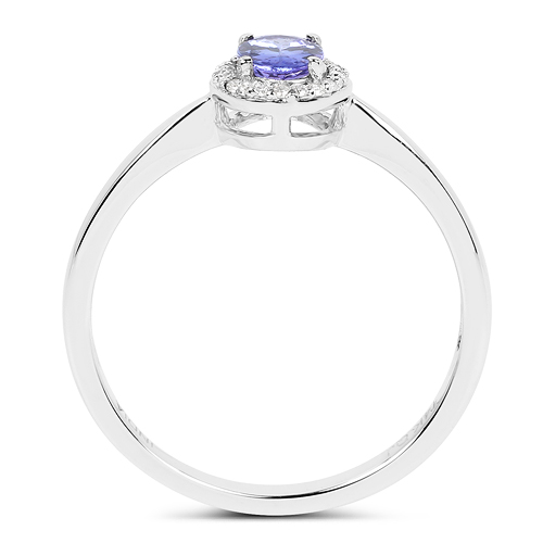 0.48 Carat Genuine Tanzanite and White Diamond 14K White Gold Ring
