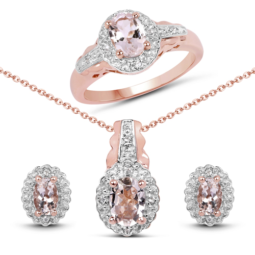 Jewelry Sets-14K Rose Gold Plated 2.28 Carat Genuine Morganite and White Topaz .925 Sterling Silver Jewelry Set