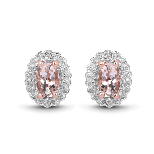 14K Rose Gold Plated 2.28 Carat Genuine Morganite and White Topaz .925 Sterling Silver Jewelry Set
