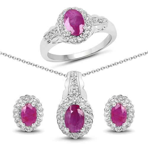 Ruby-3.02 Carat Genuine Ruby and White Topaz .925 Sterling Silver set