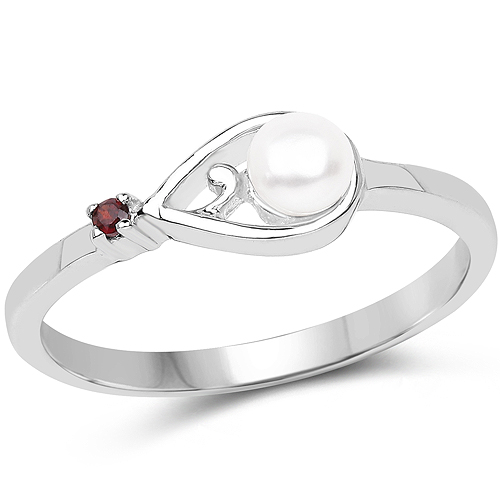 Pearl-0.48 Carat Genuine Pearl and Garnet .925 Sterling Silver Ring
