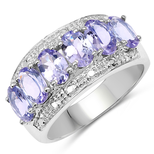Tanzanite-2.64 Carat Genuine Tanzanite .925 Sterling Silver Ring