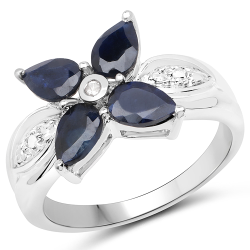 Sapphire-1.82 Carat Genuine Black Sapphire and White Topaz .925 Sterling Silver Ring